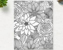 SALE Coloring Page Printable Floral Pattern Adult Book AntiStress Art Therapy Instant Download