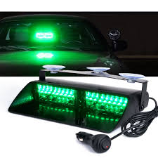 100 Strobe Kits For Trucks 16 LED Green Lights Dash Windshield With Suction Cups