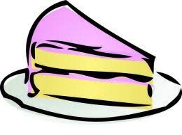 Slice of cake Illustration of a cake with pink icing