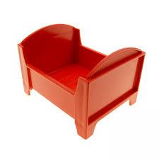1x lego duplo möbel bett rot schlafzimmer puppenbett dolls