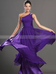beaded one shoulder a line long chiffon prom dress with back draping