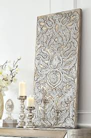 Wall Arts Champagne Mirrored Mosaic Damask Panel Pier One Within Latest Abstract