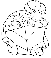 Christmas Cat Coloring Pages