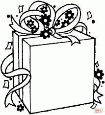 Birthday Present Coloring Page Gift Package