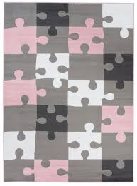 area rug children room bedroom pink grey puzzle play mat durable carpet size