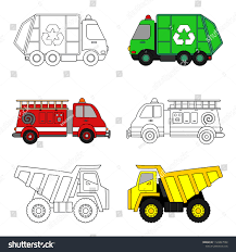 100 Kids Dump Truck Coloring Page Garbage Fire Stock Vector Royalty