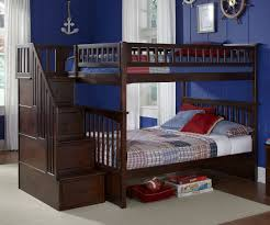 Bedroom Wooden Bunk Beds With Stairs Plus Drawers And Blue Wall