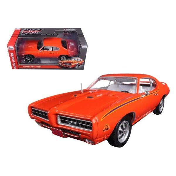 1969 Pontiac GTO Judge Orange Limited Edition to 1002pc 1/18 Diecast Car Model by Autoworld