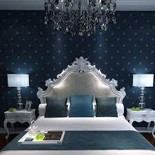 Mediterranean Non Woven Wallpaper Plain Solid Color Blue Deep Sea Bedroom Living Room Tv Background Hd