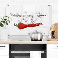 wall herd abdeckplatte spritzschutz küche chilischote