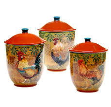 Rustic Kitchen Canister Sets by Amazon Com Certified International 3 Piece Rustic Rooster