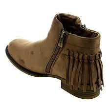 bella marie women fringe zip flat heel ankle booties black navy taupe