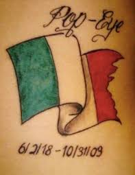 Small Italian Flag Tattoo With Lettering