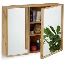 bad spiegelschrank 2 türig wandschrank aus bambus vormontierter badschrank hxbxt 50 x 65 x 14 cm natur