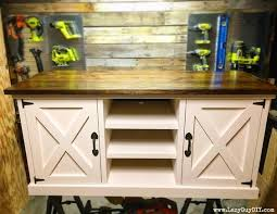 This Large Farmhouse Style Media Console Has A Thick Top Rustic X Accents And Plenty Of Storage For Uh Y Stuff Or Gin