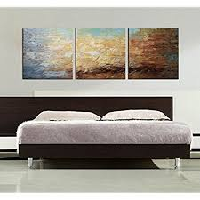 ARTLAND Modern 100 Hand Painted Framed Abstract Oil Painting Peaceful Lake 3 Piece Gallery Wrapped Wall Art On Canvas Ready To Hang For Living Roomfor
