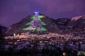 The Town And Biggest Christmas Tree Of World Gubbbio Umbria Italy Europe