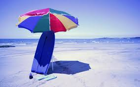 Surfboard Beach Great Blue Sand Idea Slippers Umbrella Animated