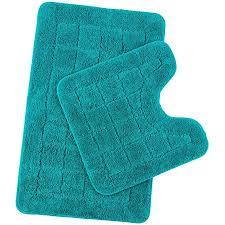 pauwer mikrofaser badematten set 2 teilig rutschfest waschbare badteppich badvorleger und wc vorleger saugfähiges badezimmerteppich set türkis 53 x