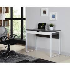 bureau gris laqué hexa bureau contemporain pieds en métal mélaminé gris et blanc