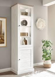 vitrine colorado 57cm pinie weiß eiche antik standvitrine wohnzimmer schrank