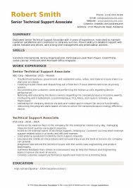 Senior Technical Support Associate Resume Summary