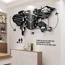 grx clock weltkarte uhr wand wanduhr modern wohnzimmer große