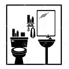bathroom pictogram white background vector illustration