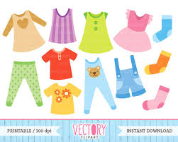 12 Clothes Clip Art Kids Clipart Childrens Baby Toddler Wear Outfit Images Children By Vectory