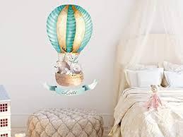 grazdesign wandtattoo babyzimmer namen heißluftballon mint