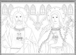 Sacred Heart Of Jesus And Immaculate Mary Coloring Page