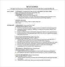 MBA Finanace Department Resume PDF Free Template Ideal Mba