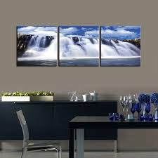 3 Panel Fantastic Waterfalls Falling Off Cliffs Canvas Wall Art Print Painting Nature Landscape For