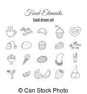 Hand Drawn Sweet Pastry Set Bakery Vector Elements Sketch