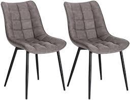 2x esszimmerstuhl küchenstuhl polsterstuhl aus kunstleder dunkelgrau bh207dgr 2