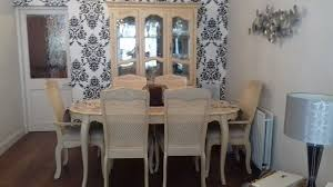 French Style Dining Table With 6 Chairs And A Free Standing Display Cabinet