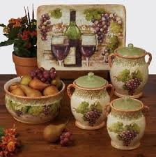 grape vine canister set 3 piece contemporary kitchen hand painted