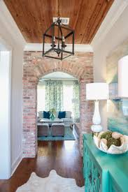 100 Brick Ceiling Hallway Wall With Arched Door Warm Wood Ceiling With White