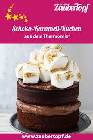 schoko karamell kuchen mit marshmallows