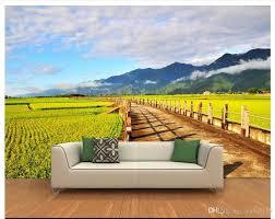 großhandel benutzerdefinierte größe 3d fototapete wohnzimmer wandbild paddy landstraße landschaft 3d bild sofa tv hintergrund tapete vlies