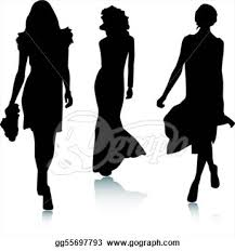 Fashion Show Clip Art Stock Clipart Gg55697793 Runway Model Silhouette Vector