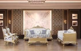 casa padrino luxus barock wohnzimmer set blau weiß gold 2 sofas 2 sessel 1 couchtisch prunkvolle barock möbel wohnzimmer möbel