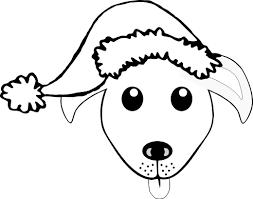 Dog Face C Oon Grey With Santa Hat Xmas Christmas Coloring Book ColouringSVG 80K