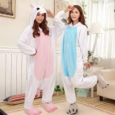 Get Quotations Los Poetry Fun Couple Warm Winter Flannel Toilet Cartoon Piece Pajamas Blue Pink Unicorn Animal Man