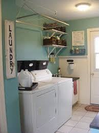 Saving Very Small Spaces Laundry Room Organization Ideas With Hanging Drying Rack Over Washer And Dryer Rattan Basket Mounted Shelving Units