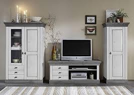 massivholz wohnzimmerschrank 2farbig weiß grau kiefer vitrine