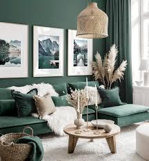 atemberaubende bilderwand grünes wohnzimmer naturposter eichenrahmen