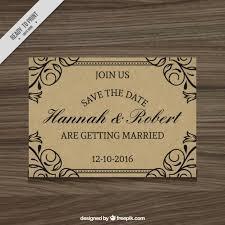Elegant Wedding Invitation Rustic Style Free Vector