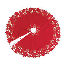 XIA Home Fashions 48 In Red Polyviscose Poinsettia Christmas Tree Skirt