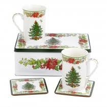 Spode Christmas Tree Mugs With Spoons by 12 Days Of Christmas Pimpernel Usa